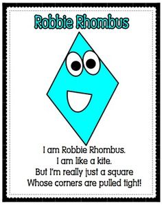 what is a rhombus for kindergarten Preschool Songs, Preschool Curriculum, Preschool Classroom, Preschool Learning, Kindergarten Math, Preschool Activities, Homeschooling, Preschool Shapes, Shape Activities