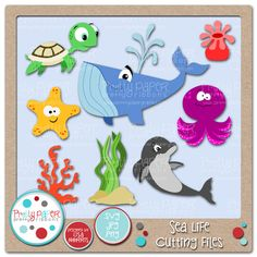 Sea Life Cutting Files - these cute sea creatures will work well in the classroom or for your summertime craft.