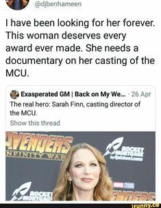 Sarah Finn, casting director for Marvel Funny Marvel Memes, Marvel Jokes, Dc Memes, Avengers Memes, Marvel Actors, Marvel Heroes, Marvel Avengers, Marvel Comics, Fandoms