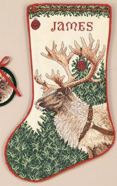 Rare Neal Anderson Christmas Cross Stitch Stocking Kit Reindeer ...