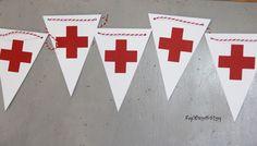 """Red Cross"" Banner! Nurse Party. Retirement. Graduation. Nurse Appreciation."