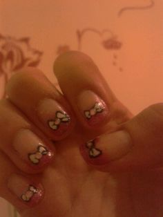 Pink gradient tips + bows