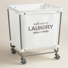"Decor/accessories - A chic take on the classic laundromat cart, our rolling hamper features a removable cotton bag that reads ""self serve laundry open 24 hours"" and snaps neatly . Laundry Shop, Laundry Cart, Laundry Hamper, Laundry Rooms, Basement Laundry, 24 Hour Laundry, Coin Laundry, Laundry Closet, Laundry Tips"