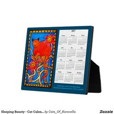 Sleeping Beauty - Cat Calendar 2017 Plaque. Colorful Cat Paintings by Dora Hathazi Mendes. #calendars for #catlovers by #dorahathazi