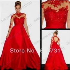 Nice red lace prom dresses with sleeves 2017-2018