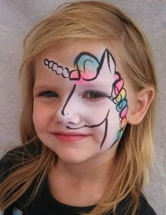A more um acceptable version of unicorn face painting Truccabimbi unicorno Face Painting Unicorn, Face Painting Tips, Girl Face Painting, Unicorn Face, Face Painting Designs, Painting For Kids, Body Painting, Rainbow Unicorn, Horse Face Paint