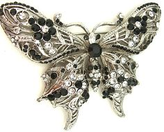 Antiqued Silver Tone Black Onyx and Clear Color Crystal Butterfly Brooch Pin * Startling review available here  : Jewelry Brooches Pins
