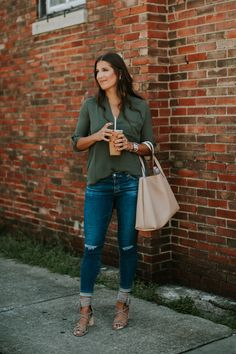 olive tunic, roll tab sleeve tunic, lush tunic, street level tote, AG jeans, AG distressed skinny jeans, affordable fashion, sale fashion, sale tunic, jeffrey campbell sandal, louisville coffee shops, please and thank you louisville, casual style, transitional style, transitional outfit, summer outfit, summer fashion, fall style, fall fashion // grace wainwright a southern drawl