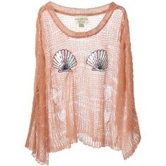 WILDFOX WHITE LABEL sequinned shell crochet sweater