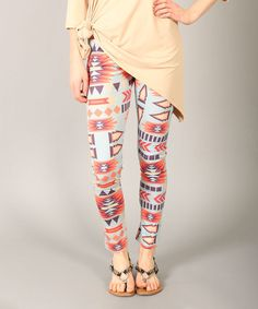 Lbisse Mint & Tan Tribal Leggings on #zulily #streetstyle