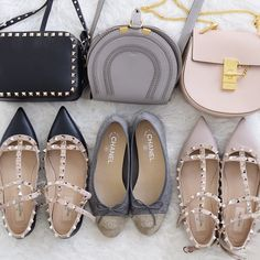 Collection of shoes and bags Maison Valentino rockstud camera bag black Chloe Paris Marcie small grey Chloe Paris drew pink Maison Valentino rockstud flats black poudre blush Chanel flats grey yasmin_dxb instagram
