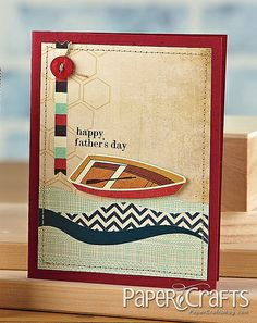 card with boat sailing transportation -good colours - olson Kepner - Paper Crafts magazine Sea Theme, Nautical Theme, Paper Crafts Magazine, Creating Keepsakes, Father's Day Diy, Fathers Day Crafts, Masculine Cards, Cool Cards, Creative Cards