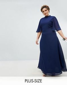 3f6c1fe6936 TFNC Plus High Neck Maxi Bridesmaid Dress With Flutter Sleeve