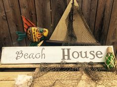 Nautical  sign Beach House wooden distressed sign by Chessyflowers