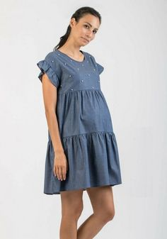 4e250e45315 Robe de grossesse à volants avec perles - Attesa Maternity - Taylorbox
