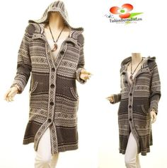 X-Mas-Mystree-Women-Gray-Outerwear-Hood-Knit-Tribal-Jacket-Cardigan-Sweater-Coat