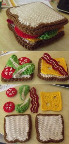 "Crochet Amigurumi Sandwich from 'Yummi 'Gurumi' Crochet sandwich – apparently this is from a book. The link I've added goes to an adapted pattern: ""Adapted from ""Yummi 'Gurumi: Over 60 Gourmet Crochet Treats to. Crochet Food, Love Crochet, Crochet Baby, Knit Crochet, Crochet Pouch, Easy Crochet, Knitting For Kids, Free Knitting, Knitting Projects"