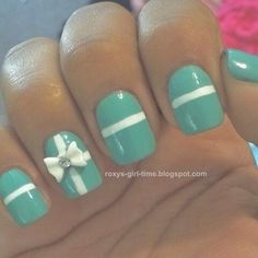 Turquoise and White with Bows Nail Art Design