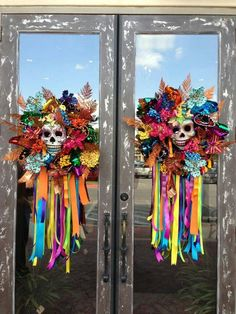 day of the dead outdoor decorations | Could use dollar tree door knockers to recreate these