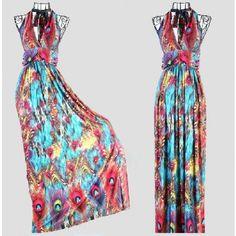 FB Chiffon Colorful Peacock Print High V-neck Long Boho Beach Clothes...gorgeous!