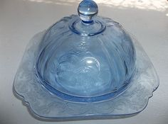 Vintage Federal Blue Depression Glass Madrid Domed Butter Dish