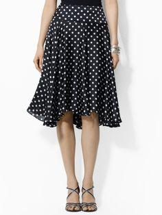 Ralph Lauren Black and White Polka Dot Silk Skirt...love those polka dots!