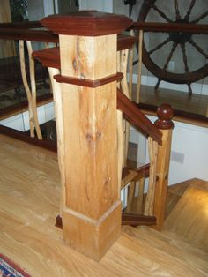 Customize your newel posts to make your staircase grand Newel Posts, Hardwood, Make It Yourself, Table, Furniture, Design, Home Decor, Natural Wood, Decoration Home