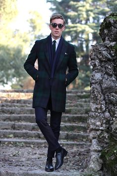 Fitted Black Watch Tartan Driving Coat, and All Black.pn warm winter, we need warm coat ,so mordern down coat, my best loved moncler. Mens Winter Coat, Mens Fall, Winter Coats, Mens Fashion Blog, Best Mens Fashion, Men's Fashion, Style Blog, Men's Style, Black Style