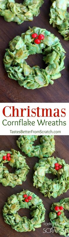 Christmas Cornflake Wreaths are one of my favorite easy Christmas treats that everyone in your family will love! | tastesbetterfromscratch.com