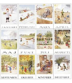 Vintage Elsa Beskow Monthly Illustrated Calendar...  From the Nordiska museum.