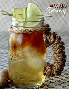 A Dark and Stormy, made with hard ginger beer and good quality dark rum.