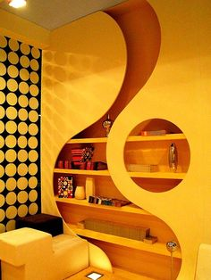Vintage Interior Design | Cool Bookcase Wall Design!! | Yellow This is freaking CUTE!!