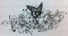Flower and butterfly tattoo design with diamond by tattoosuzette.deviantart.com on @deviantART
