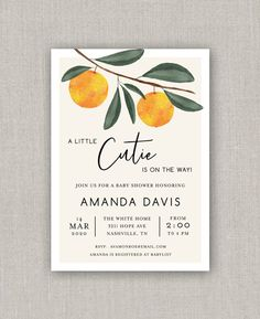 A Little Cutie Orange Baby Shower Invitation Birth Announcement Template, Baby List, Photo Cards, Baby Shower Invitations, All The Colors, My Design, Christmas Cards, Orange, Prints