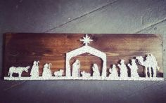 Christmas Nativity String Art unique nativity by BlossomsNKnots Diy Nativity, Christmas Nativity Scene, A Christmas Story, Christmas Crafts, Christmas Decorations, Pin On, String Art, Handmade Crafts, Art Projects