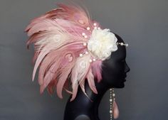 Pink & Ivory Peacock Feather Headpiece