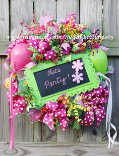 Pink and Lime Party Wreath by SugarBritches65 on Etsy
