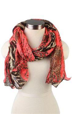 neon pop animal print scarf