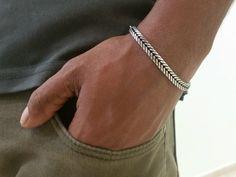 """11 mm Haute Qualité Argent Noir Cubain Curb Chaîne Homme Bracelet Corde En Cuir 8.66/"""""""