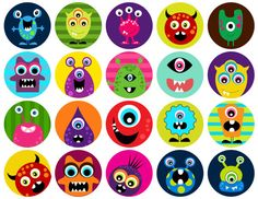 Monsters - one inch digital sheet of inch round images for glass tiles, cake toppers, mag Monster Inc Party, Monster Birthday Parties, Monsters Inc, Little Monsters, Rock Crafts, Diy And Crafts, Monster Crafts, Bottle Cap Images, Kids Prints