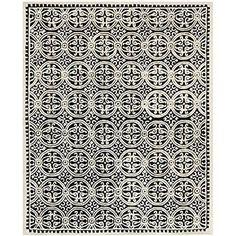 Safavieh Cambridge Collection CAM123E Handmade Wool Area Rug, 5-Feet by 8-Feet, Black and Ivory, 491.99