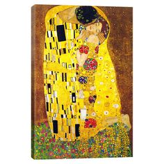 Bring gallery-worthy style to your decor with this lovely canvas print, depicting a reproduction of Gustav Klimt's The Kiss.