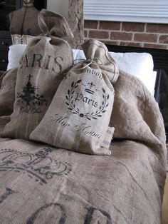 """Burlap """"Spread"""" {and that's really a quick and easy way to make pillows (you could just stuff the sacks with an old sleep pillow, & you're done!) ...}"""