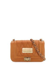 Beatriz Quilted Leather Crossbody Bag, Miele