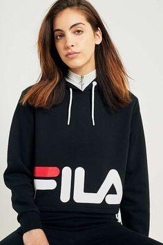 Slide View: 2: FILA - Sweat à capuche coupe courte Cora avec logo