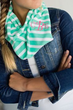 Monogrammed Children's Infinity Scarves, Mint Striped Scarf, Kids Scarf, Personalized kids scarf by TheScentedSoybeanCo on Etsy