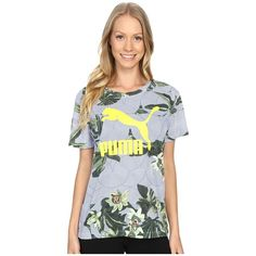 PUMA AOP Tee Women's T Shirt ($30) ❤ liked on Polyvore featuring tops, t-shirts, crew t shirt, short sleeve tops, oversized tee, logo tee and relaxed tee