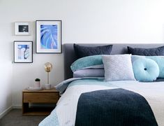 Real home: Expectant parents enjoy breezy bayside abode - The Interiors Addict Interior Design Photography, Room Interior Design, Bedroom Layouts, Bedroom Styles, Bedroom Bed, Master Bedroom, Pair Of Bedside Tables, Online Interior Design Services, Beautiful Bedrooms