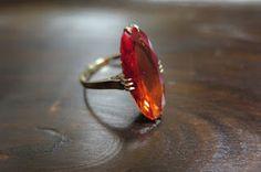 千本透かし blog / CLASSICS HAKOZAKI / 昭和ジュエリー: 565:デッドストック 千本透かし(穴透かし) 合成オレンジサファイア リング #12 Opal, Gold Rings, Glitter, Jewelry, Design, Rings, Jewellery Making, Jewlery, Jewelery