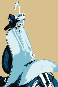 New Mod Heaven Sky Blue Scooter Poster